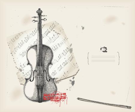partition musique: Instrument de dessin-musique de violon avec fond score