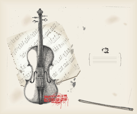 Violin drawing- music instrument with score- background