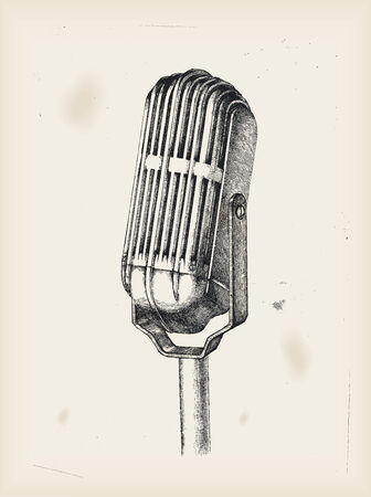 vintage mic: Old microphone -drawing  Illustration