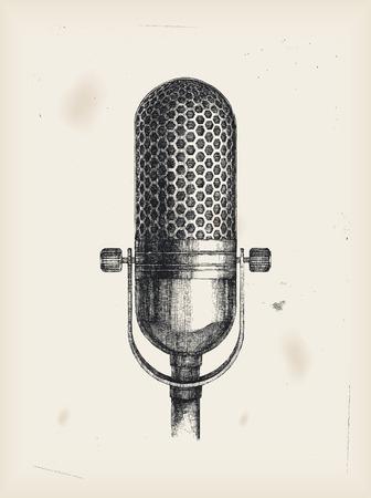 microfono radio: Dibujo de micr�fono  Vectores