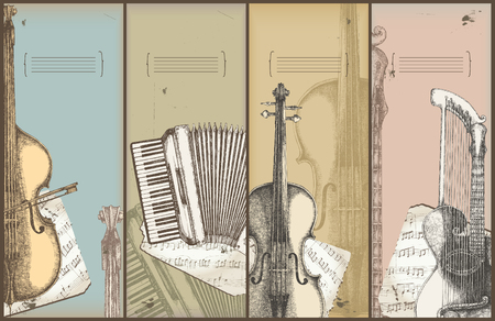 music theme banners - instruments drawing -bass, accordion, violin, harp-guitar