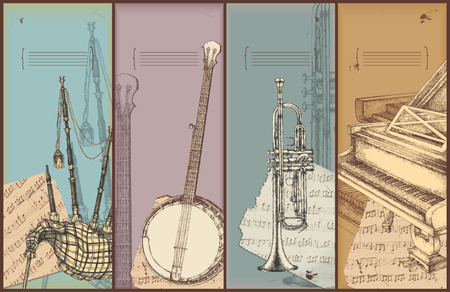 vintage theme: music theme banners - instruments drawing -bagpipe, banjo, trumpet, piano