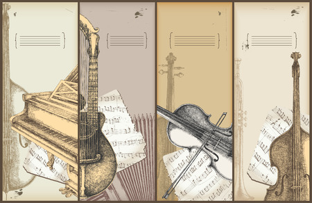 music theme banners - instruments drawing - piano, violin, bass, harp-guitar