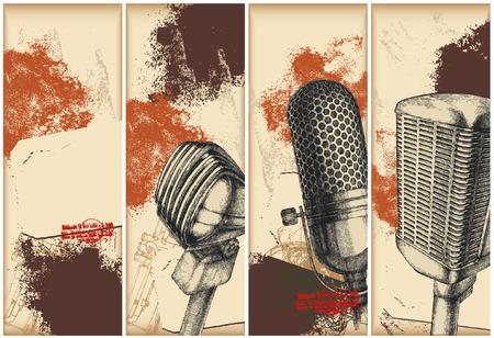 mic: Microfono disegno banner  Vettoriali