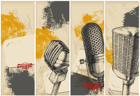 omroep: Microfoon teken banners  Stock Illustratie