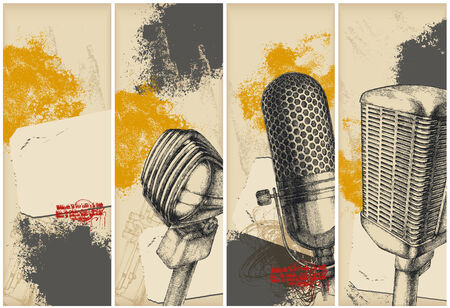 microphone retro: Microphone drawing banners
