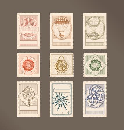 rosa dei venti: Illustrazioni di francobolli-vintage - macchine volanti, sigilli di cera, sfera armillare, bussola rosa, cerchio volti