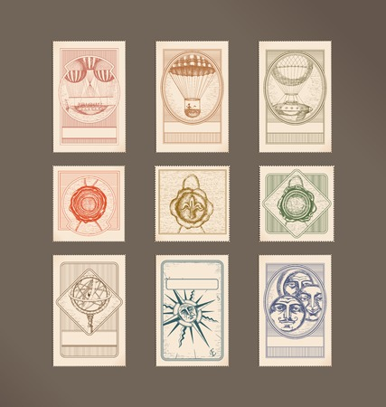 wax stamp: Postage stamps- vintage illustrations- flying machines, wax seals, Armillary Sphere,compass rose, circle faces