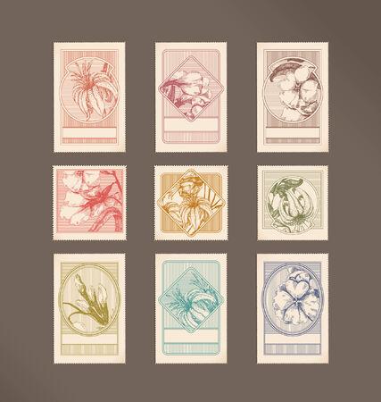 postage stamps: Postage stamps - flowers Illustration