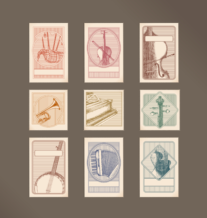 accordion: Music instruments stamps