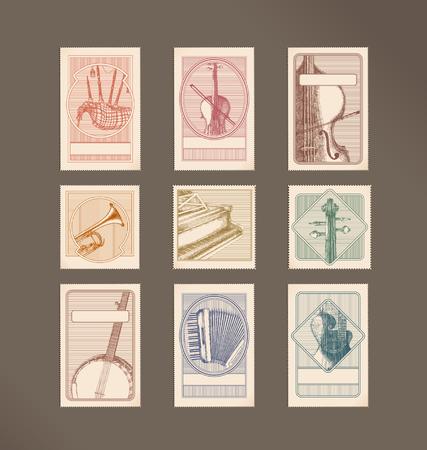 acordeon: Sellos de instrumentos de m�sica