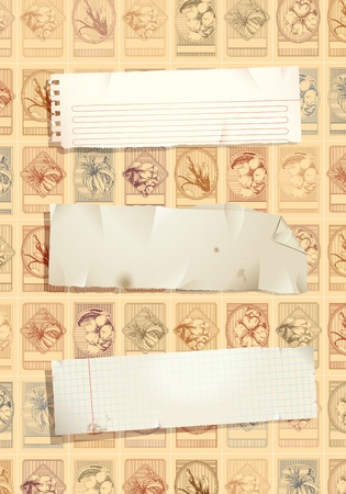 Vintage stamp background with torn papers Vector