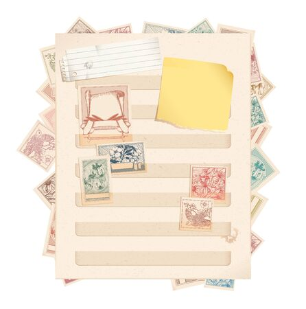 Stamp book page with stamps, paper and post-it Stock Vector - 9266970