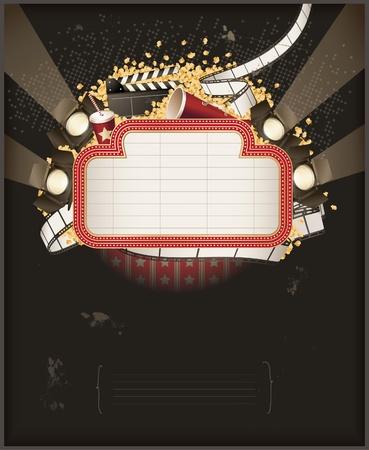 cinema old: Tendone di teatro con oggetti di tema di film. Composizione