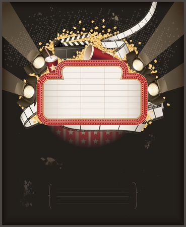 movie clapper: Theatre marquee with movie theme objects. Composition