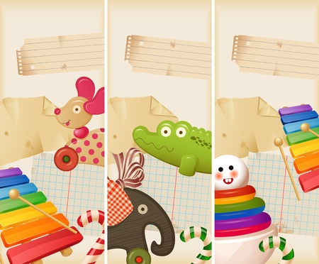 toy elephant: Toys, candy & childhood memories - banners Illustration
