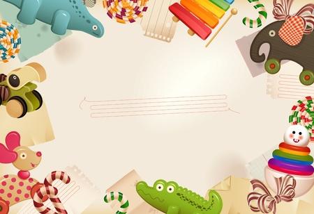 Juguetes, golosinas & recuerdos de la infancia - fondo Ilustración de vector