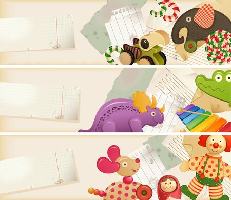 toy elephant: Toys, candy & childhood memories - horizontal banners Illustration