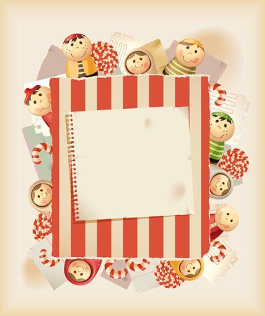 Play the game. Toys, sweets & paper Vector