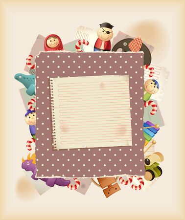 Play the game. Toys, sweets & paper. Background Vector