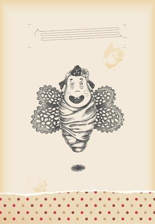 tekening vlinder: plezier - baby meisje vlinder tekening