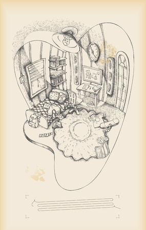 sketch child: teenagers room - interior - drawing