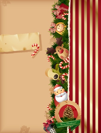 rudolf: Christmas - toys background and old paper