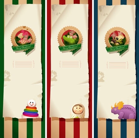 Christmas banners - toys labels and paper Vector