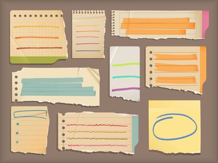 Old notebook paper with highlight elements Vector