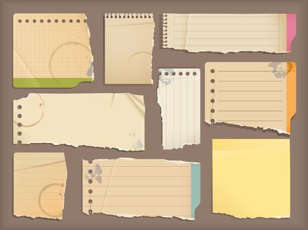 old notebook: Old notebook paper objects Illustration