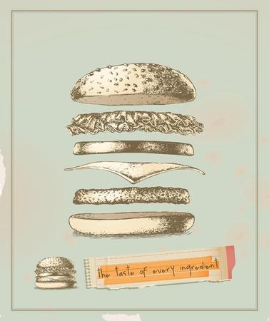 el sabor de cada ingrediente - hamburguesas de dibujo Ilustración de vector