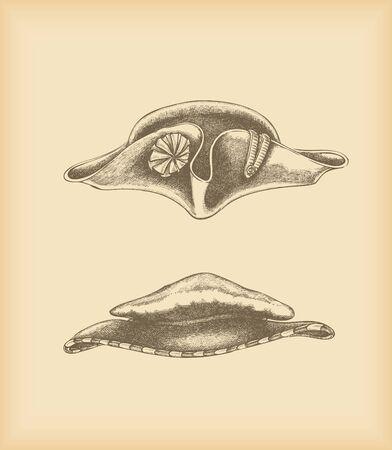 tricorne: Hats drawing - tricorne hat   floppy hat