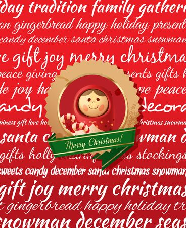 winter season: Christmas Greeting Card. Type background & christmas label. Red
