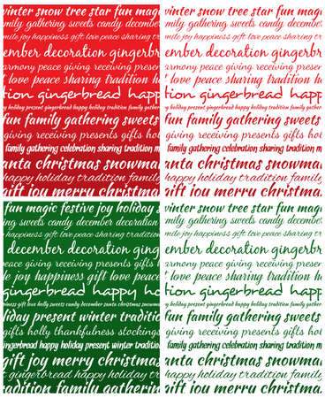congratulations word: Christmas type background . Green and red