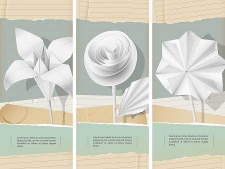 Paper flowers- banners  Ilustração