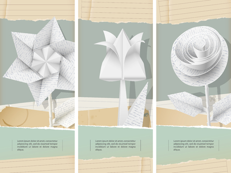 Paper flowers with handwriting texture- banners Vector