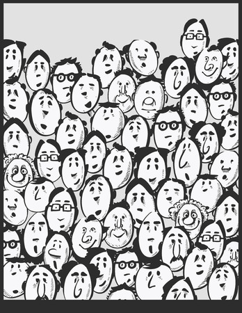 group of old people: Men crowd -cartoon characters Illustration