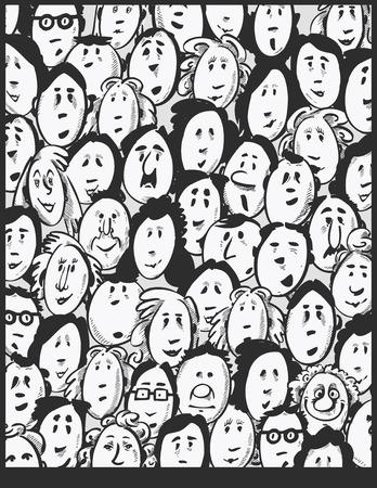 man with beard: People crowd -cartoon characters