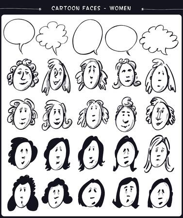 Cartoon faces- women Vector