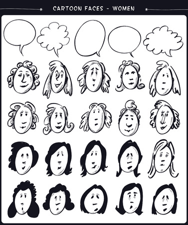 cartoon face: Cartoon faces- women