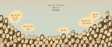 Menigte praten-stripfiguren