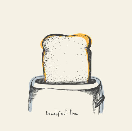 toasted bread: Breakfast time - drawing