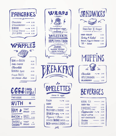 blue pen: Breakfast menu  Blue pen drawing