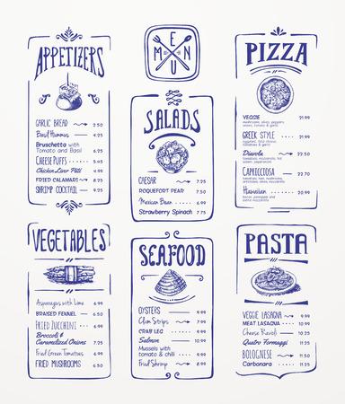 Modelo del menú azul bolígrafo dibujo aperitivos, verduras, ensaladas, mariscos, pizza, pasta