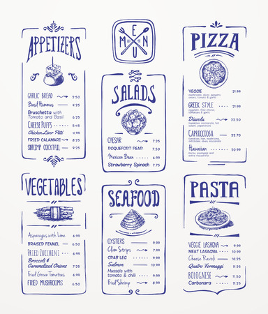 ensalada: Modelo del menú azul bolígrafo dibujo aperitivos, verduras, ensaladas, mariscos, pizza, pasta Vectores