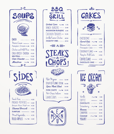 Menu template  Blue pen drawing Soups, sides, bbq   grill, steaks   chops, cakes, ice cream