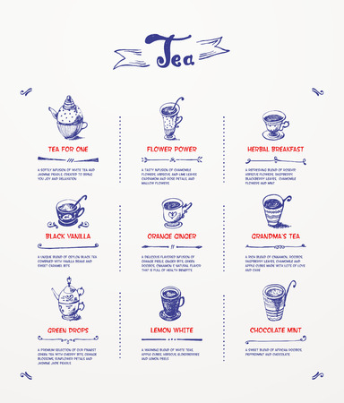 blue pen: Tea menu  Blue pen drawing