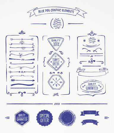 blue pen: Blue pen graphic elements Illustration