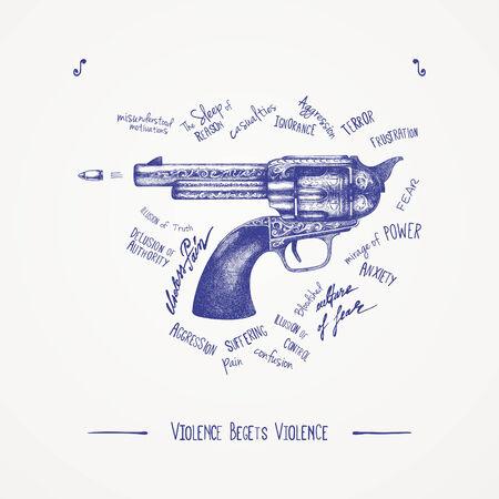 vintage gun: Violence begets violence Illustration