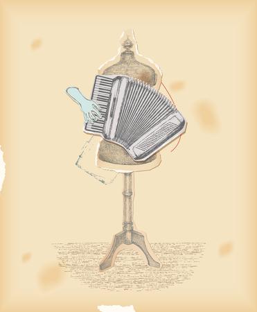 acordeón: Collage de la vendimia. Escuchar la música no el instrumento